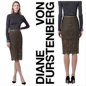 DVF Olive Glimmer Lace Pencil Skirt NWT Size 4